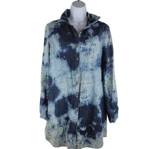 MONTEAU tie dye denim blue dress size large